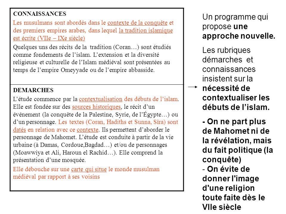 CONNAISSANCES Les musulmans sont abordés dans le contexte de la conquête et des premiers empires arabes, dans lequel la tradition islamique est écrite (VIIe – IXe siècle) Quelques uns des récits de la tradition (Coran…) sont étudiés comme fondements de lislam.