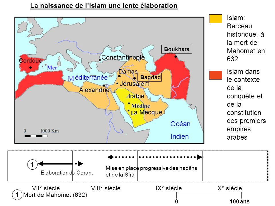 0 100 ans IX° siècleVII° siècleVIII° siècle Islam: Berceau historique, à la mort de Mahomet en 632 Islam dans le contexte de la conquête et de la cons