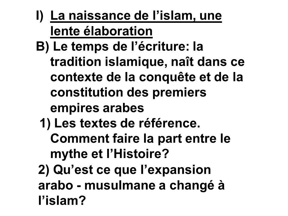 I)La naissance de lislam, une lente élaboration B) Le temps de lécriture: la tradition islamique, naît dans ce contexte de la conquête et de la consti