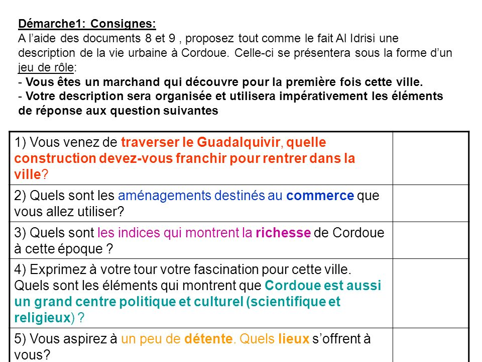 Démarche1: Consignes: A laide des documents 8 et 9, proposez tout comme le fait Al Idrisi une description de la vie urbaine à Cordoue. Celle-ci se pré