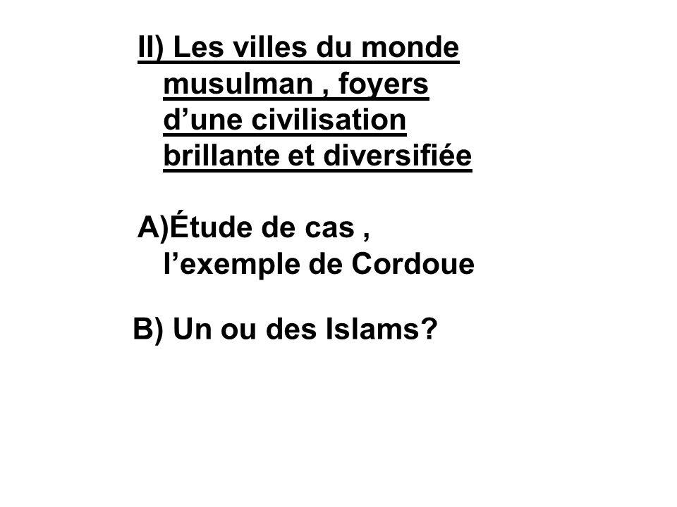 II) Les villes du monde musulman, foyers dune civilisation brillante et diversifiée A)Étude de cas, lexemple de Cordoue B) Un ou des Islams?