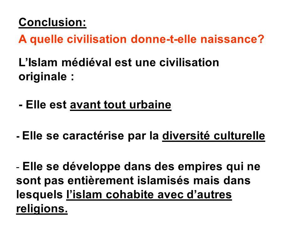 Conclusion: A quelle civilisation donne-t-elle naissance? - Elle se développe dans des empires qui ne sont pas entièrement islamisés mais dans lesquel