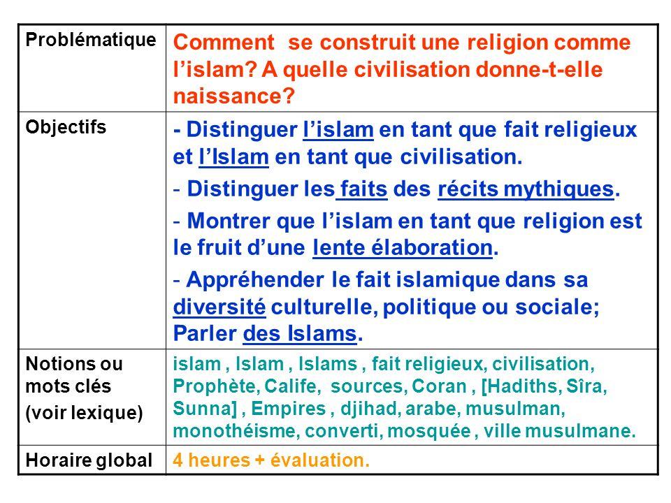 Problématique Comment se construit une religion comme lislam? A quelle civilisation donne-t-elle naissance? Objectifs - Distinguer lislam en tant que