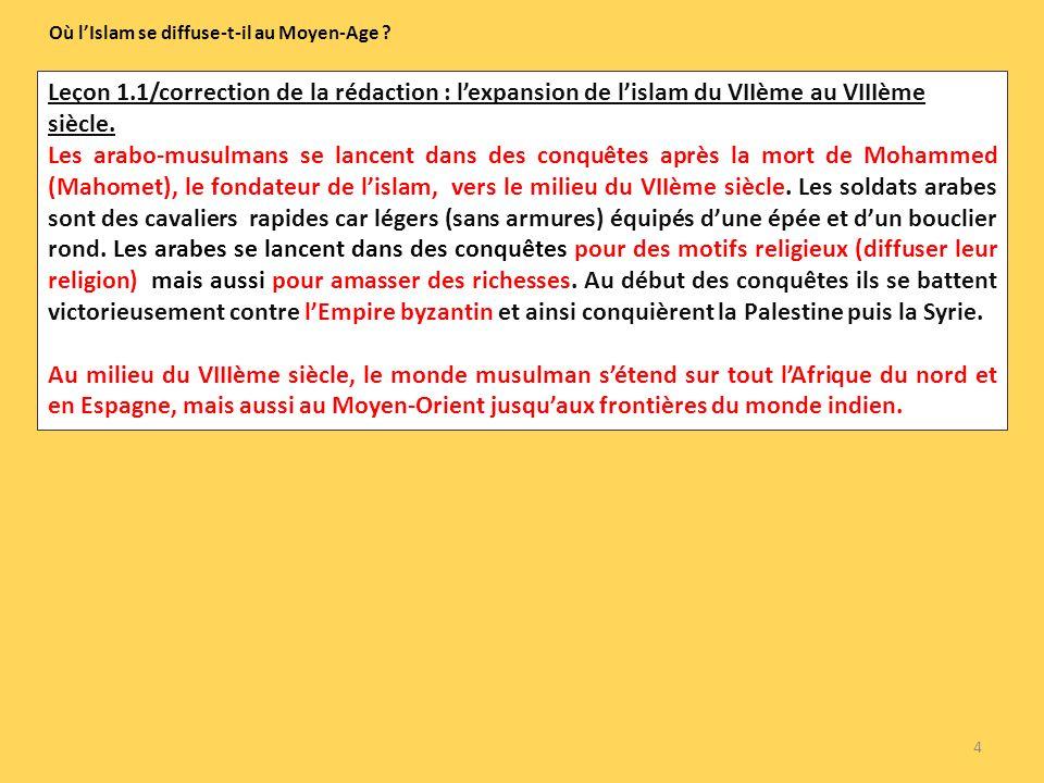 Leçon 1.1/correction de la rédaction : lexpansion de lislam du VIIème au VIIIème siècle. Les arabo-musulmans se lancent dans des conquêtes après la mo
