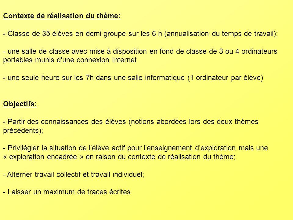 Objectifs: - Partir des connaissances des élèves (notions abordées lors des deux thèmes précédents); - Privilégier la situation de lélève actif pour l