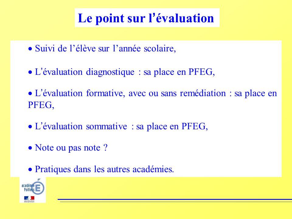 Suivi de lélève sur lannée scolaire, L évaluation diagnostique : sa place en PFEG, L évaluation formative, avec ou sans remédiation : sa place en PFEG, L évaluation sommative : sa place en PFEG, Note ou pas note .