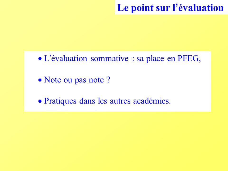 L évaluation sommative : sa place en PFEG, Note ou pas note Pratiques dans les autres académies.