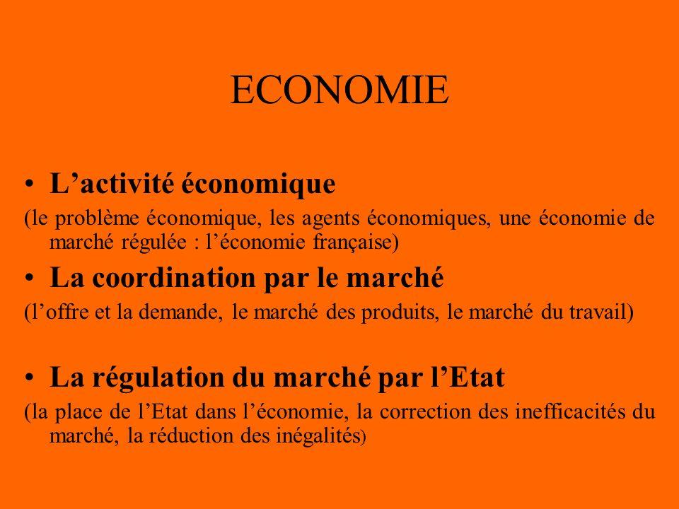 ECONOMIE Lactivité économique (le problème économique, les agents économiques, une économie de marché régulée : léconomie française) La coordination par le marché (loffre et la demande, le marché des produits, le marché du travail) La régulation du marché par lEtat (la place de lEtat dans léconomie, la correction des inefficacités du marché, la réduction des inégalités )