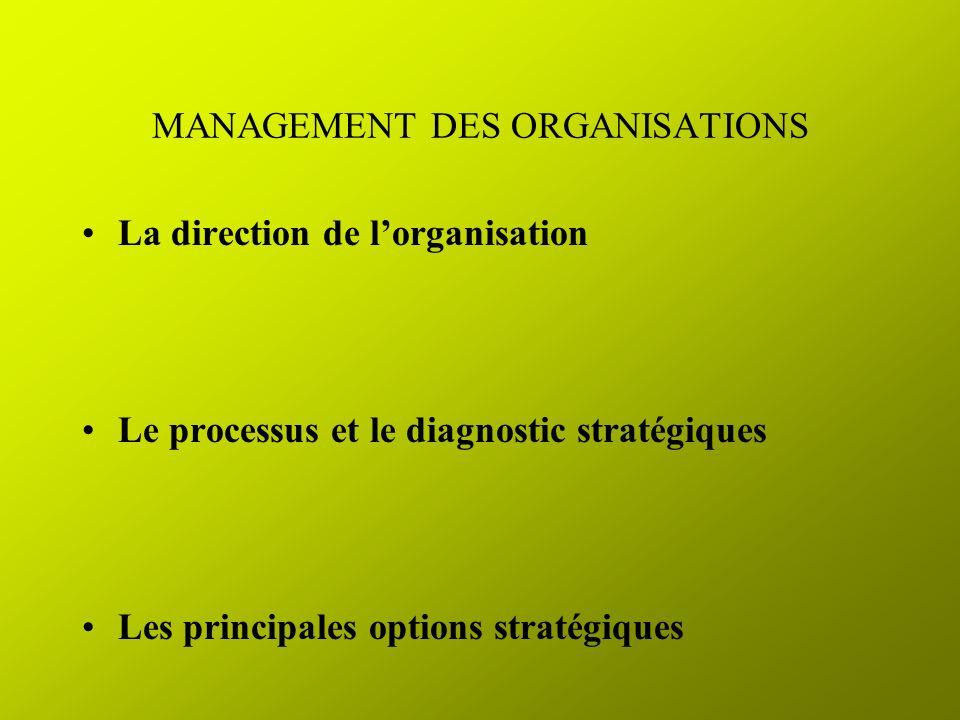 MANAGEMENT DES ORGANISATIONS La direction de lorganisation Le processus et le diagnostic stratégiques Les principales options stratégiques