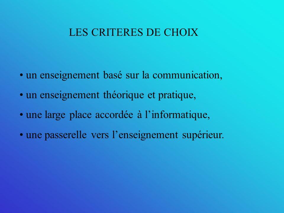 LES CRITERES DE CHOIX un enseignement basé sur la communication, un enseignement théorique et pratique, une large place accordée à linformatique, une passerelle vers lenseignement supérieur.