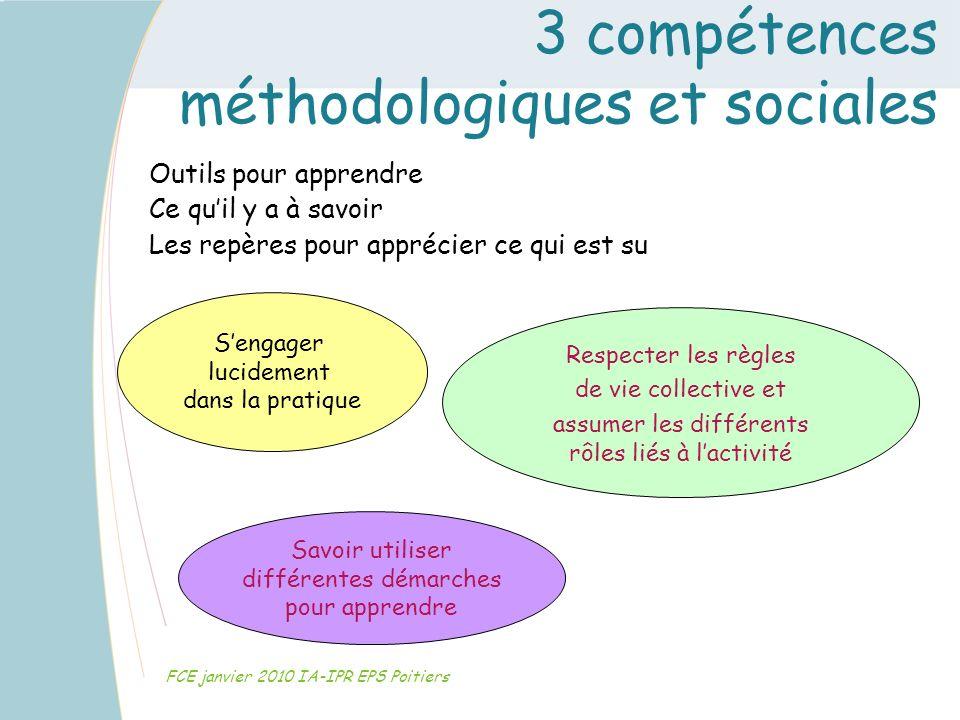 3 compétences méthodologiques et sociales FCE janvier 2010 IA-IPR EPS Poitiers Outils pour apprendre Ce quil y a à savoir Les repères pour apprécier c