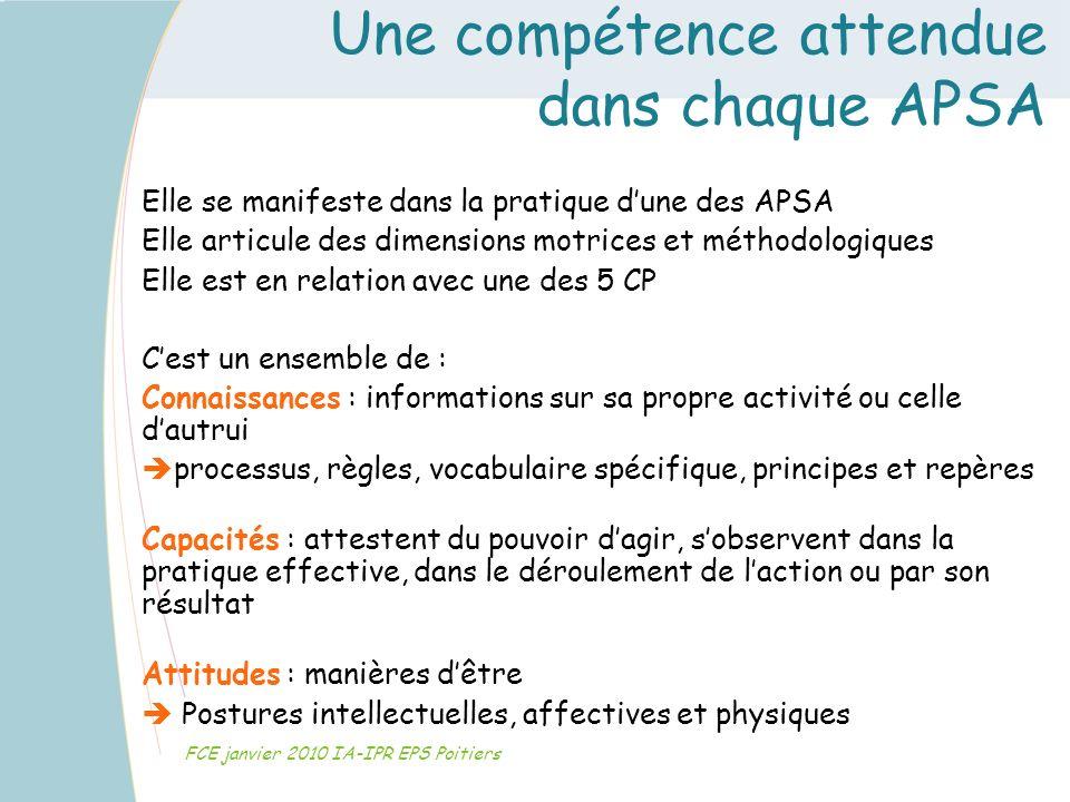 Une compétence attendue dans chaque APSA FCE janvier 2010 IA-IPR EPS Poitiers Elle se manifeste dans la pratique dune des APSA Elle articule des dimen