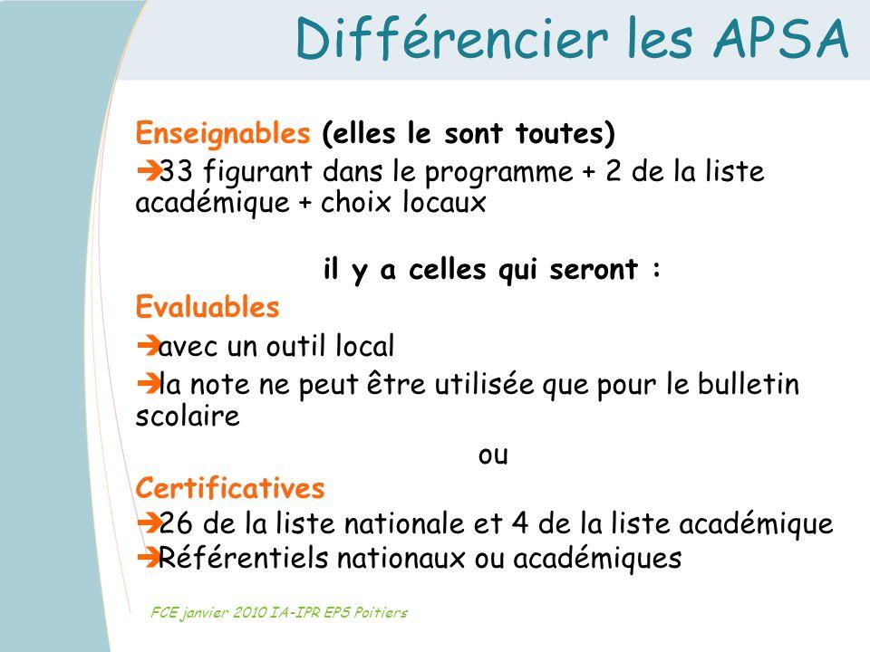 Différencier les APSA FCE janvier 2010 IA-IPR EPS Poitiers Enseignables (elles le sont toutes) 33 figurant dans le programme + 2 de la liste académiqu