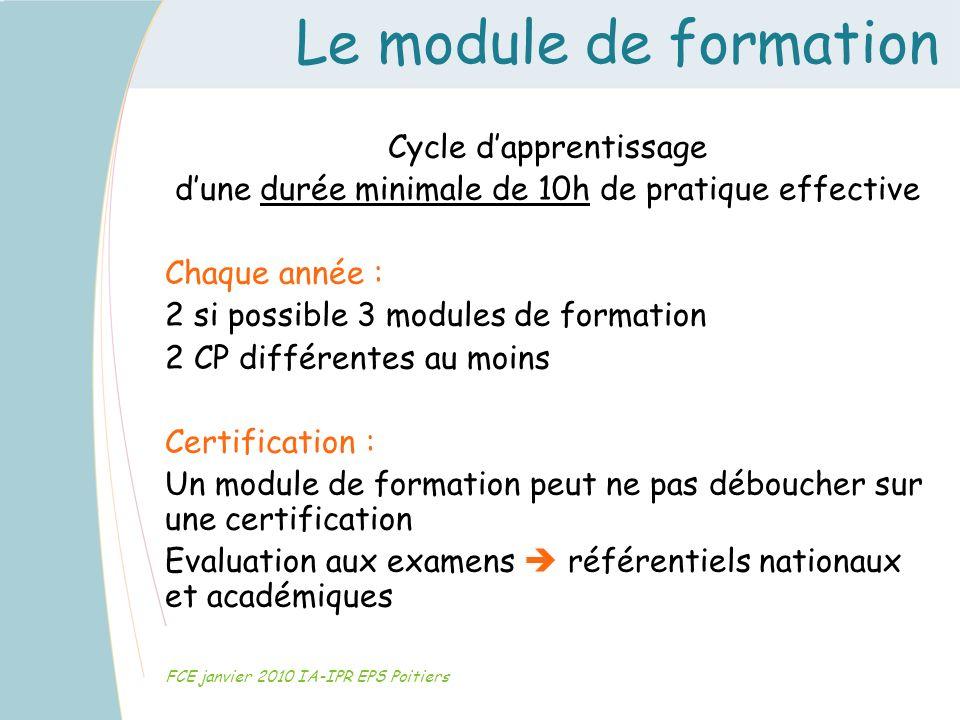 Le module de formation FCE janvier 2010 IA-IPR EPS Poitiers Cycle dapprentissage dune durée minimale de 10h de pratique effective Chaque année : 2 si