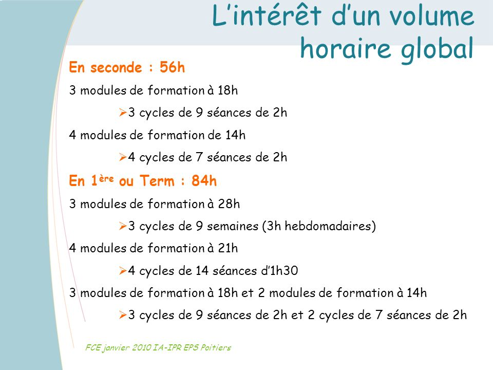 Lintérêt dun volume horaire global FCE janvier 2010 IA-IPR EPS Poitiers En seconde : 56h 3 modules de formation à 18h 3 cycles de 9 séances de 2h 4 mo