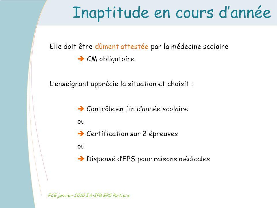 Inaptitude en cours dannée FCE janvier 2010 IA-IPR EPS Poitiers Elle doit être dûment attestée par la médecine scolaire CM obligatoire Lenseignant app