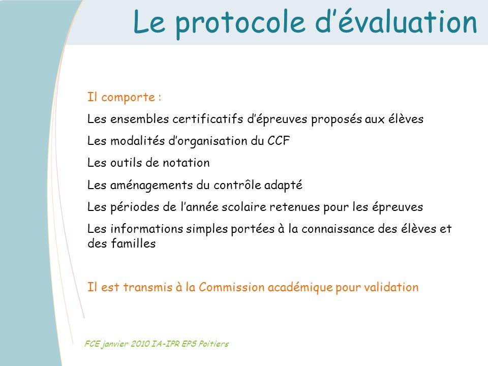 Le protocole dévaluation FCE janvier 2010 IA-IPR EPS Poitiers Il comporte : Les ensembles certificatifs dépreuves proposés aux élèves Les modalités do