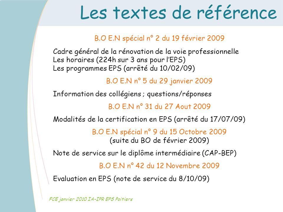 Les textes de référence FCE janvier 2010 IA-IPR EPS Poitiers B.O E.N spécial n° 2 du 19 février 2009 Cadre général de la rénovation de la voie profess