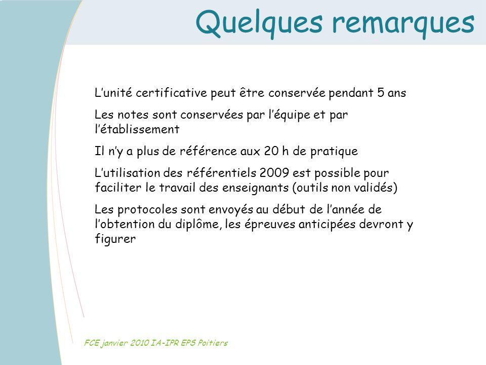 Quelques remarques FCE janvier 2010 IA-IPR EPS Poitiers Lunité certificative peut être conservée pendant 5 ans Les notes sont conservées par léquipe e