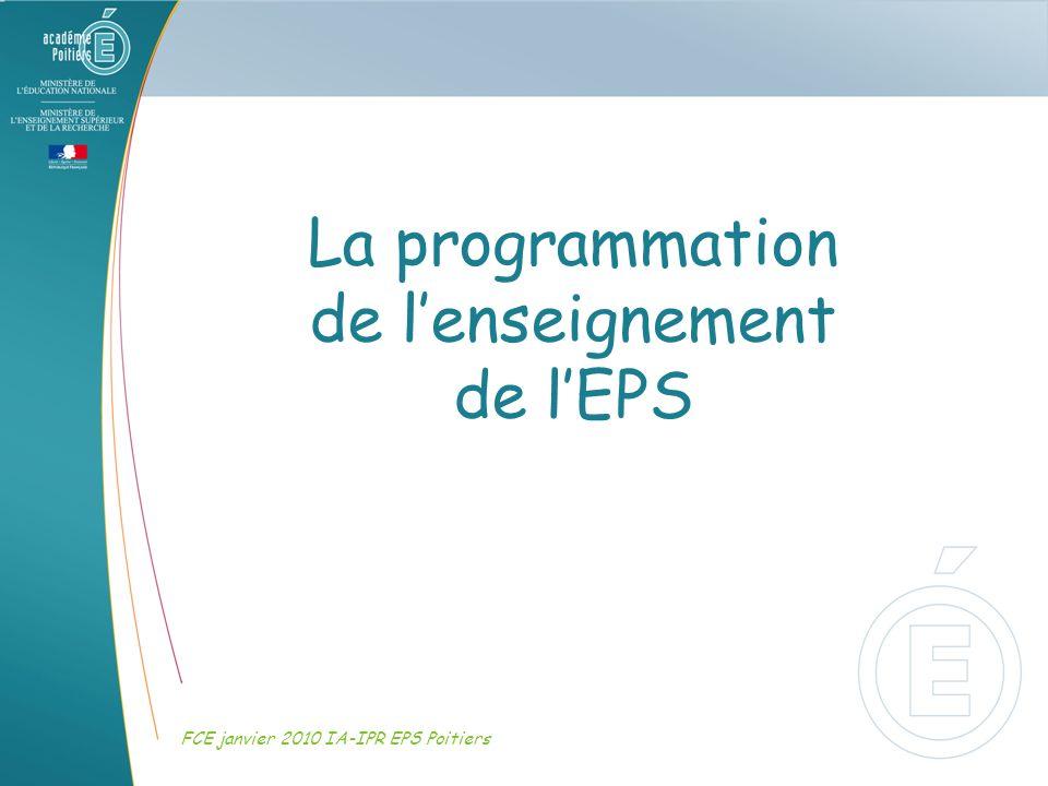 La programmation de lenseignement de lEPS FCE janvier 2010 IA-IPR EPS Poitiers