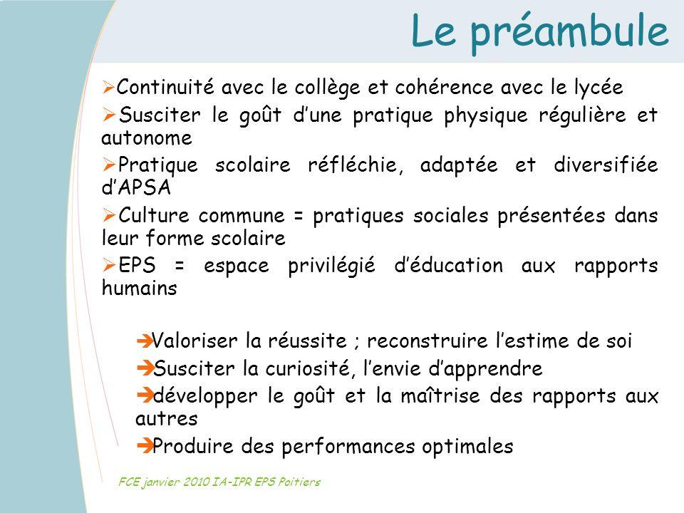 Le préambule FCE janvier 2010 IA-IPR EPS Poitiers Continuité avec le collège et cohérence avec le lycée Susciter le goût dune pratique physique réguli