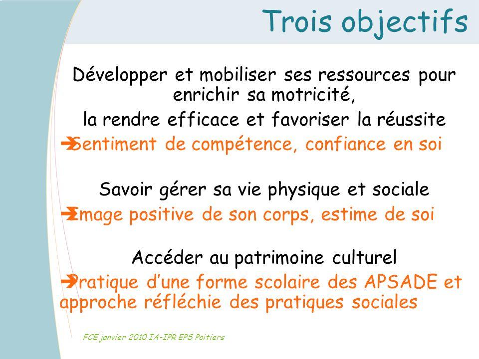 Trois objectifs FCE janvier 2010 IA-IPR EPS Poitiers Développer et mobiliser ses ressources pour enrichir sa motricité, la rendre efficace et favorise
