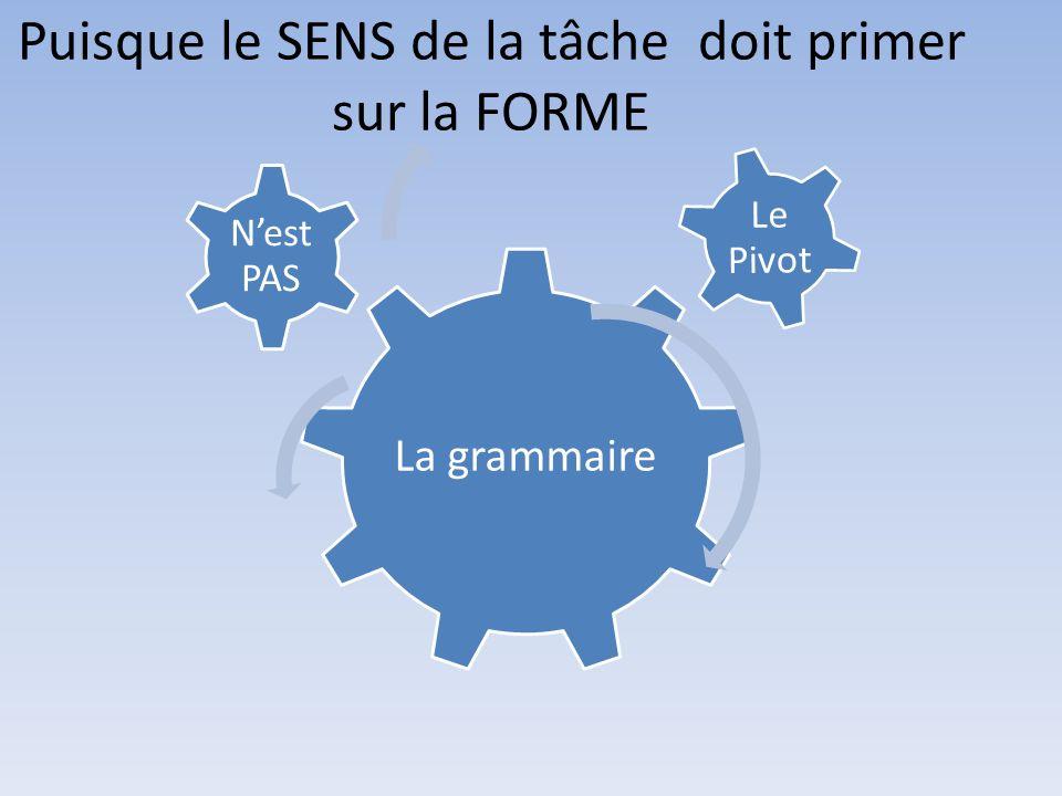 Puisque le SENS de la tâche doit primer sur la FORME La grammaire Nest PAS Le Pivot