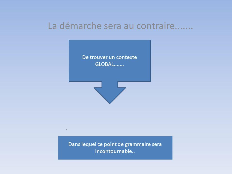 La démarche sera au contraire........ Dans lequel ce point de grammaire sera incontournable.. De trouver un contexte GLOBAL.......
