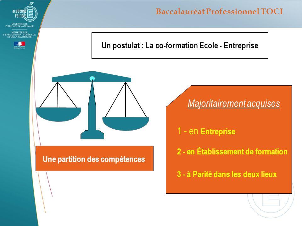 Un postulat : La co-formation Ecole - Entreprise Une partition des compétences Majoritairement acquises 1 - en Entreprise 2 - en Établissement de form