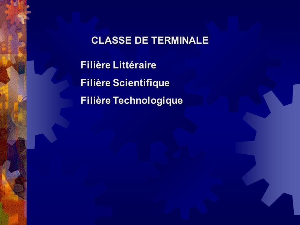 CLASSE DE TERMINALE Filière Littéraire Filière Scientifique Filière Technologique