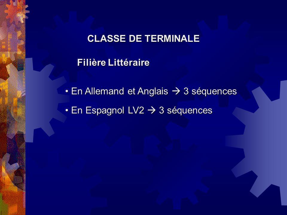 Filière Littéraire En Espagnol LV2 3 séquences En Espagnol LV2 3 séquences En Allemand et Anglais 3 séquences En Allemand et Anglais 3 séquences CLASS
