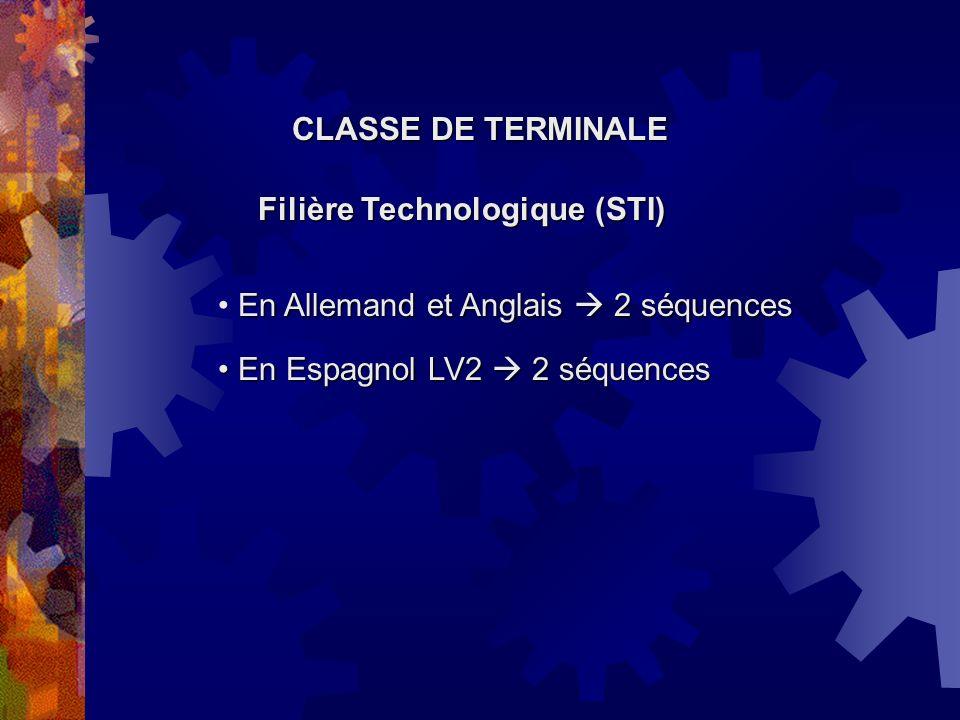 CLASSE DE TERMINALE Filière Technologique (STI) En Espagnol LV2 2 séquences En Espagnol LV2 2 séquences En Allemand et Anglais 2 séquences