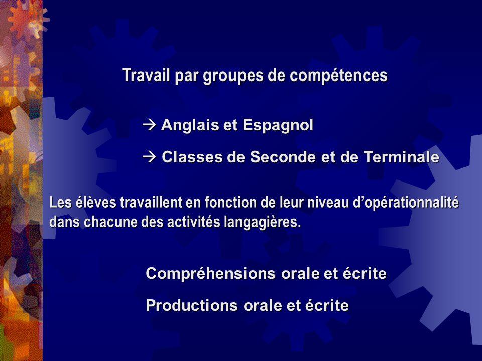 Travail par groupes de compétences Anglais et Espagnol Anglais et Espagnol Classes de Seconde et de Terminale Classes de Seconde et de Terminale Les é