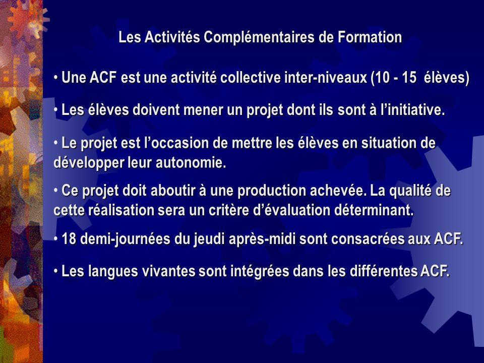 Les Activités Complémentaires de Formation Une ACF est une activité collective inter-niveaux (10 - 15 élèves) Une ACF est une activité collective inte