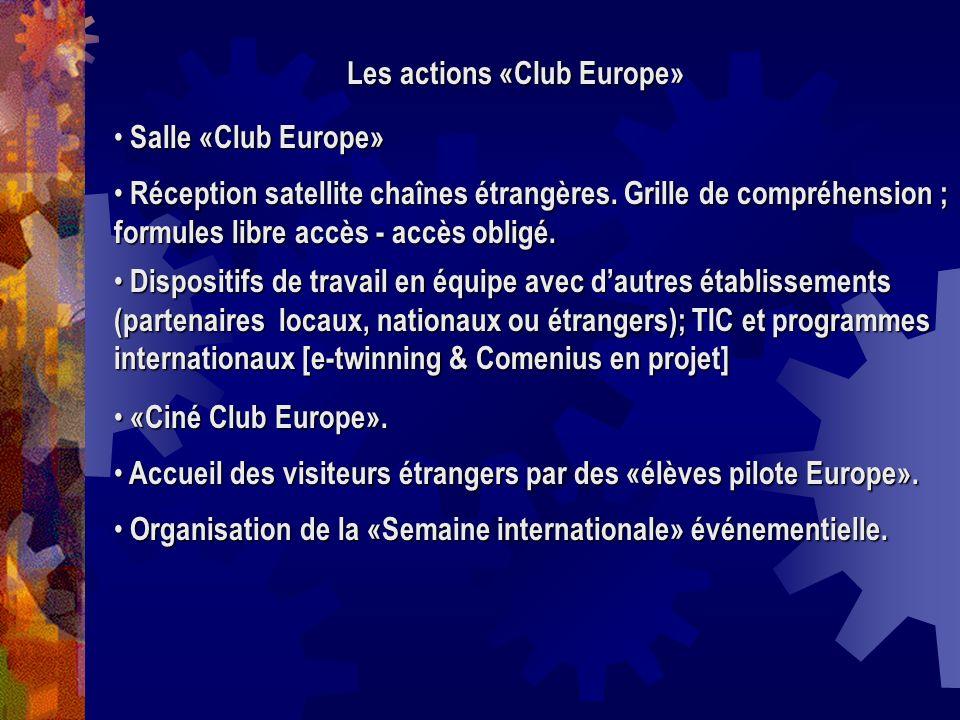 Les actions «Club Europe» Salle «Club Europe» Salle «Club Europe» Réception satellite chaînes étrangères. Grille de compréhension ; formules libre acc