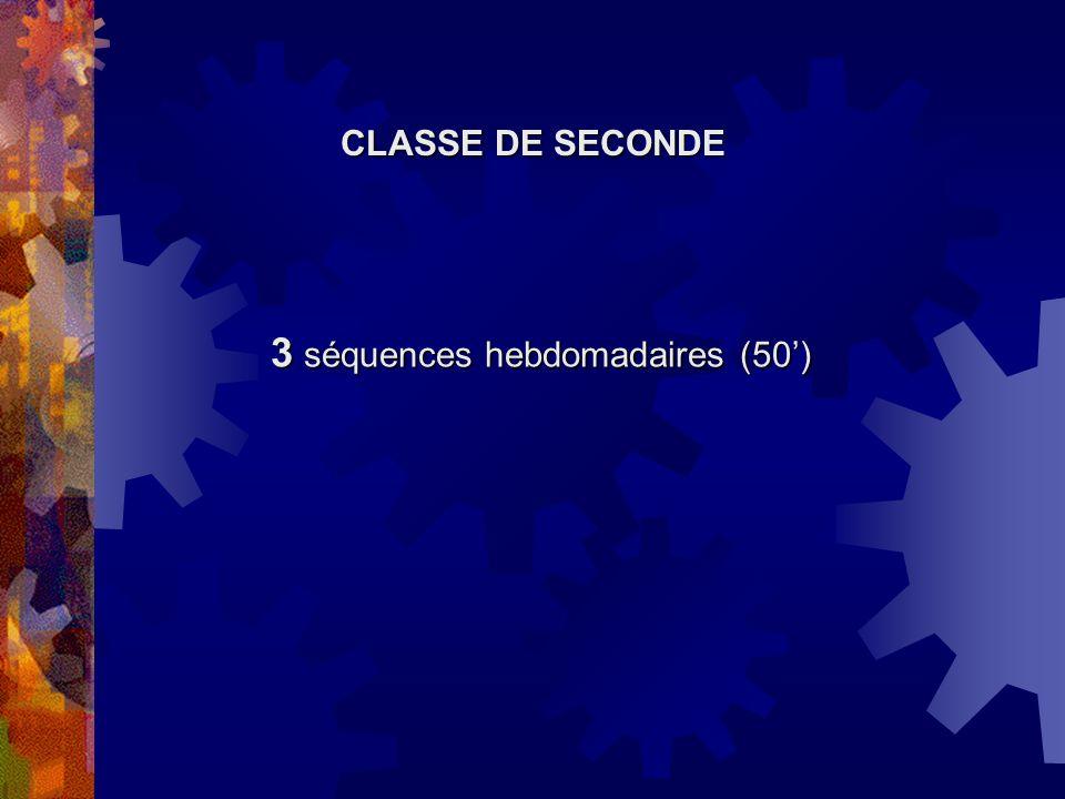 3 séquences hebdomadaires (50) CLASSE DE SECONDE