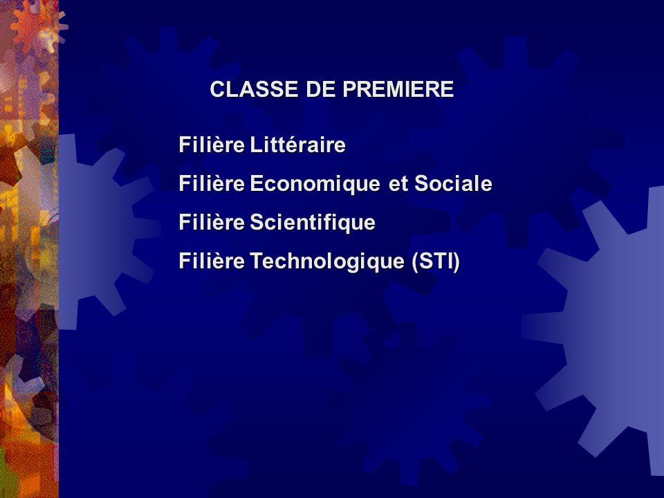 CLASSE DE PREMIERE Filière Littéraire Filière Economique et Sociale Filière Scientifique Filière Technologique (STI)
