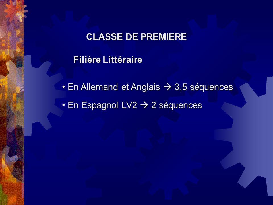 CLASSE DE PREMIERE Filière Economique et Sociale En Espagnol LV2 2 séquences En Espagnol LV2 2 séquences En Allemand et Anglais 2,5 séquences