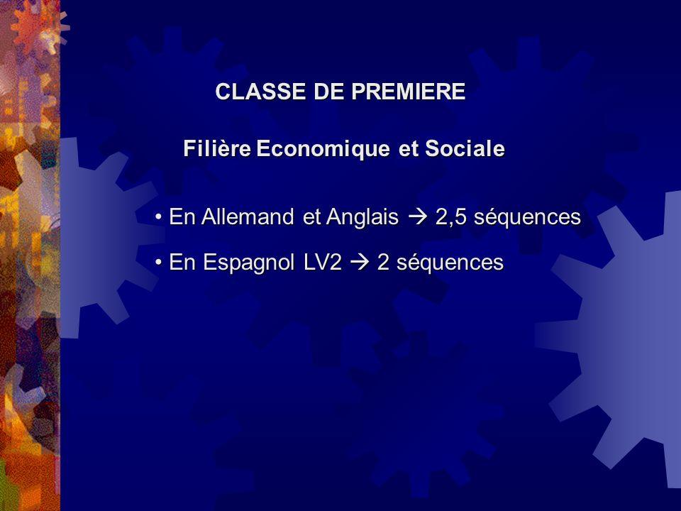 CLASSE DE PREMIERE Filière Scientifique En Espagnol LV2 2 séquences En Allemand et Anglais 2 séquences