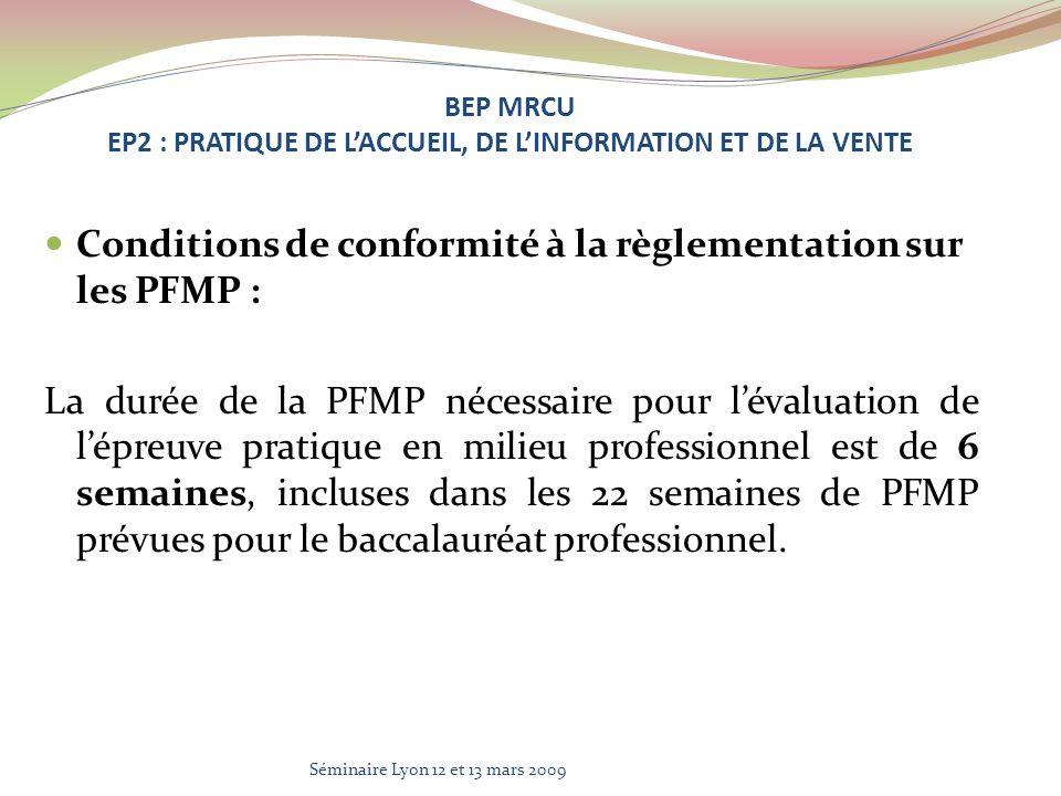 Conditions de conformité à la règlementation sur les PFMP : La durée de la PFMP nécessaire pour lévaluation de lépreuve pratique en milieu professionnel est de 6 semaines, incluses dans les 22 semaines de PFMP prévues pour le baccalauréat professionnel.