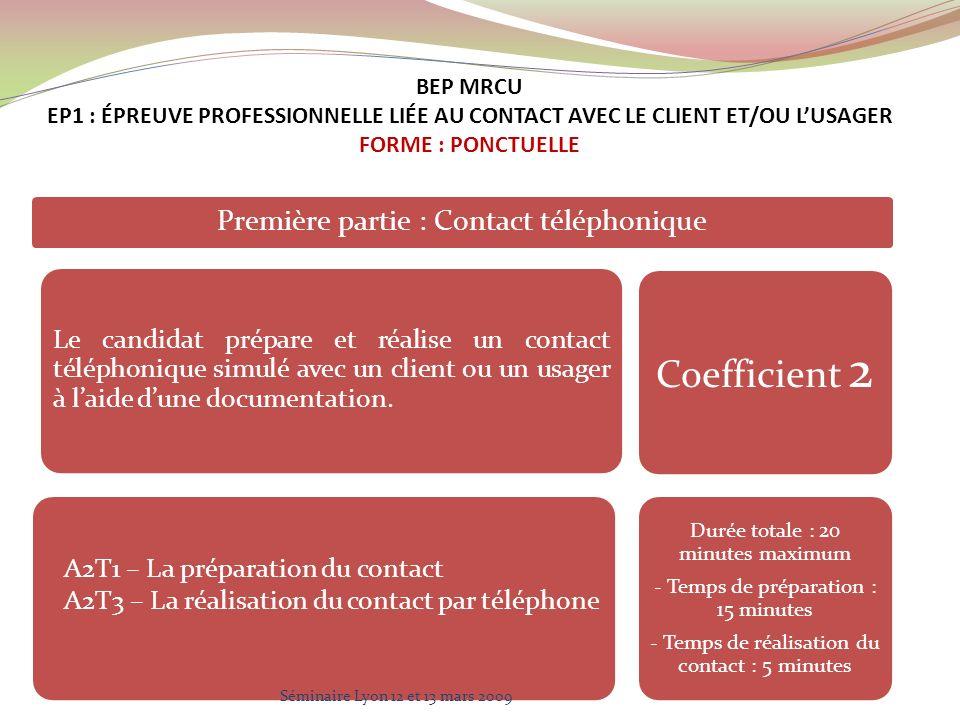 Première partie : Contact téléphonique Le candidat prépare et réalise un contact téléphonique simulé avec un client ou un usager à laide dune documentation.