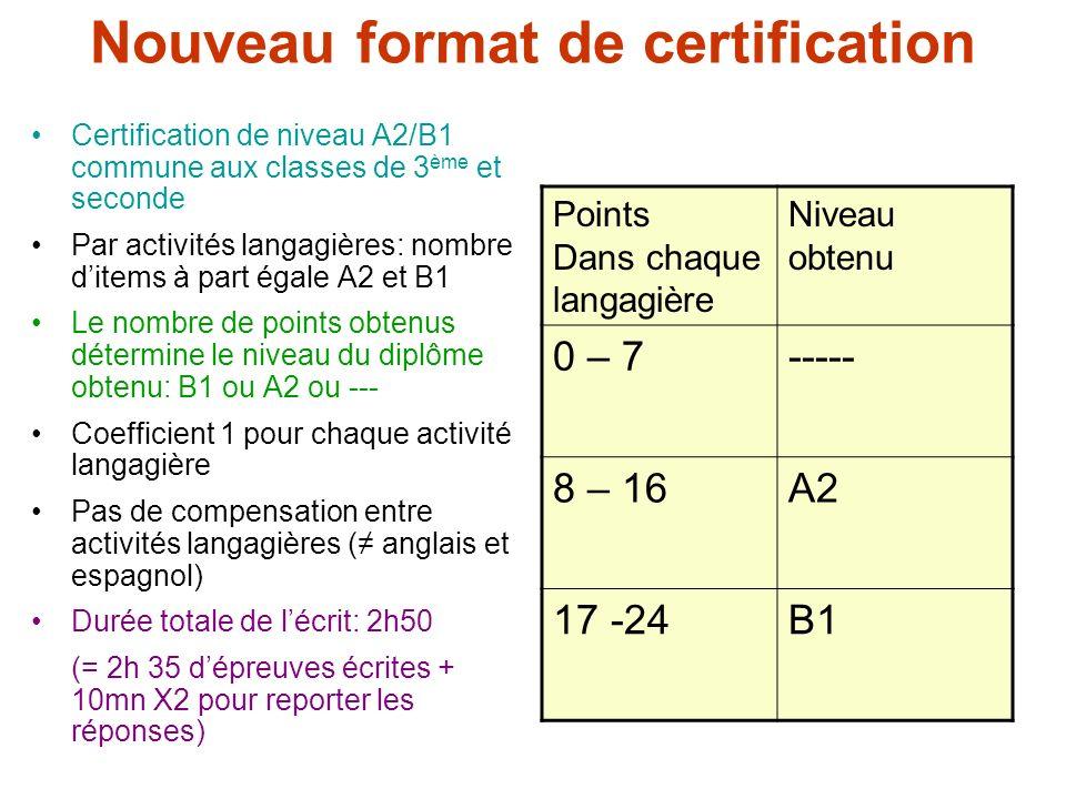 Nouveau format de certification Certification de niveau A2/B1 commune aux classes de 3 ème et seconde Par activités langagières: nombre ditems à part