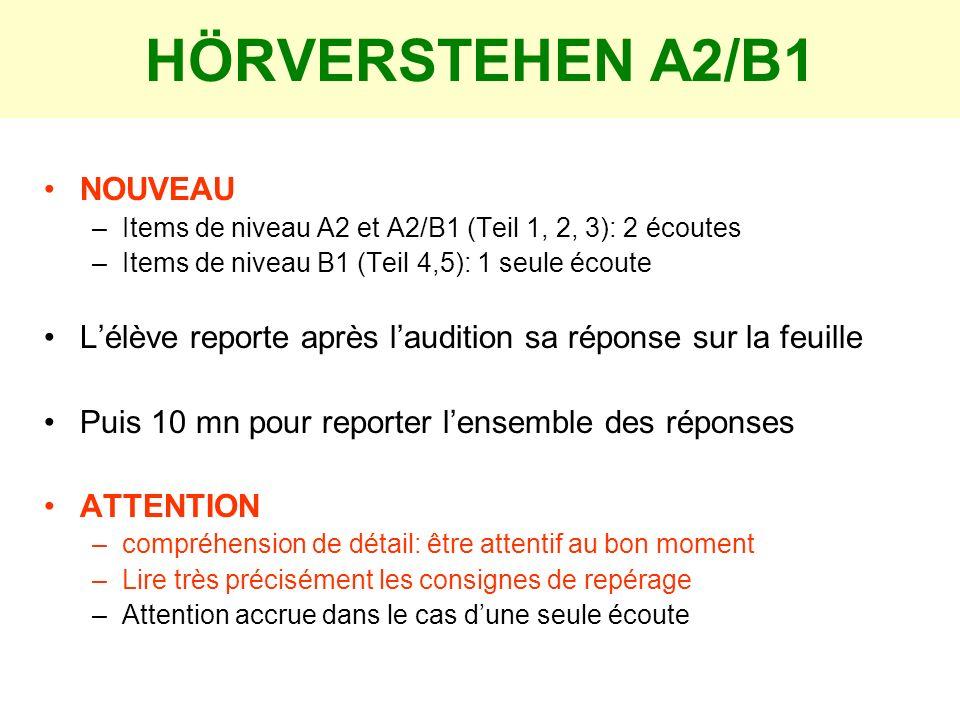 HÖRVERSTEHEN A2/B1 NOUVEAU –Items de niveau A2 et A2/B1 (Teil 1, 2, 3): 2 écoutes –Items de niveau B1 (Teil 4,5): 1 seule écoute Lélève reporte après