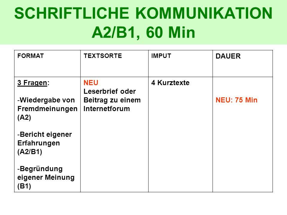 SCHRIFTLICHE KOMMUNIKATION A2/B1, 60 Min FORMATTEXTSORTEIMPUT DAUER 3 Fragen: -Wiedergabe von Fremdmeinungen (A2) -Bericht eigener Erfahrungen (A2/B1)