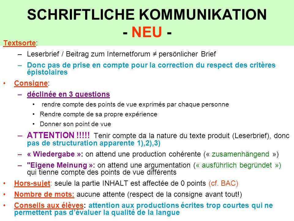 SCHRIFTLICHE KOMMUNIKATION - NEU - Textsorte: –Leserbrief / Beitrag zum Internetforum persönlicher Brief –Donc pas de prise en compte pour la correcti