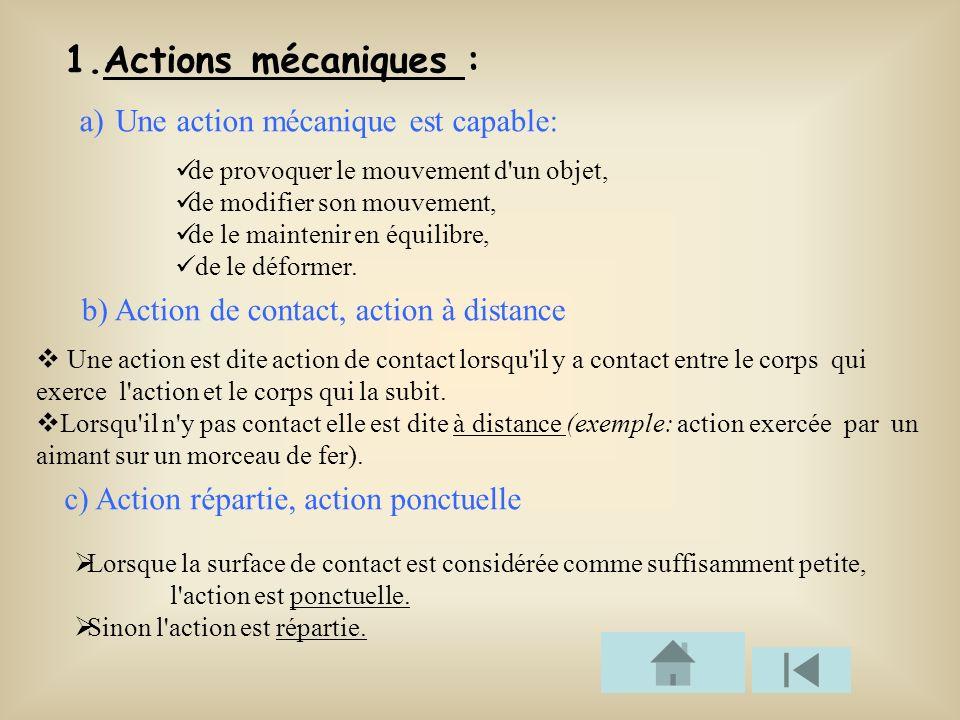 1.Actions mécaniques : a) Une action mécanique est capable: de provoquer le mouvement d'un objet, de modifier son mouvement, de le maintenir en équili