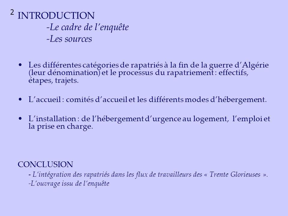 Les différentes dénominations des rapatriés dAlgérie dans les documents préfectoraux Tableau doccurrence réalisé à partir de linventaire des archives du cabinet du préfet : 17 liasses sélectionnées.