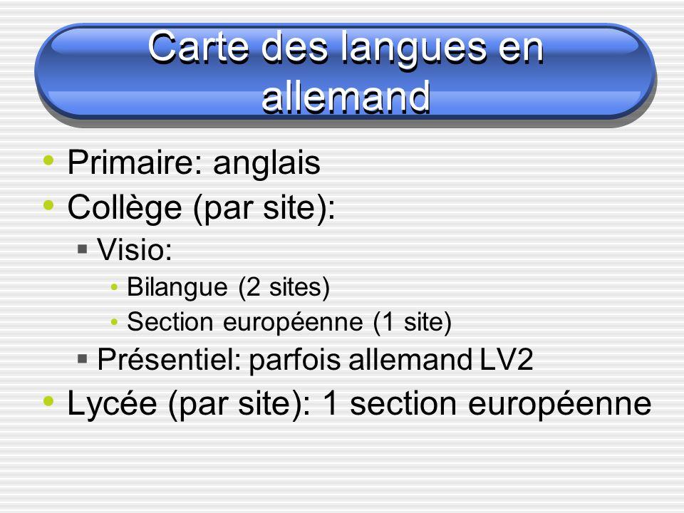 Carte des langues en allemand Carte des langues en allemand P rimaire: anglais C ollège (par site): Visio: Bilangue (2 sites) Section européenne (1 site) Présentiel: parfois allemand LV2 L ycée (par site): 1 section européenne
