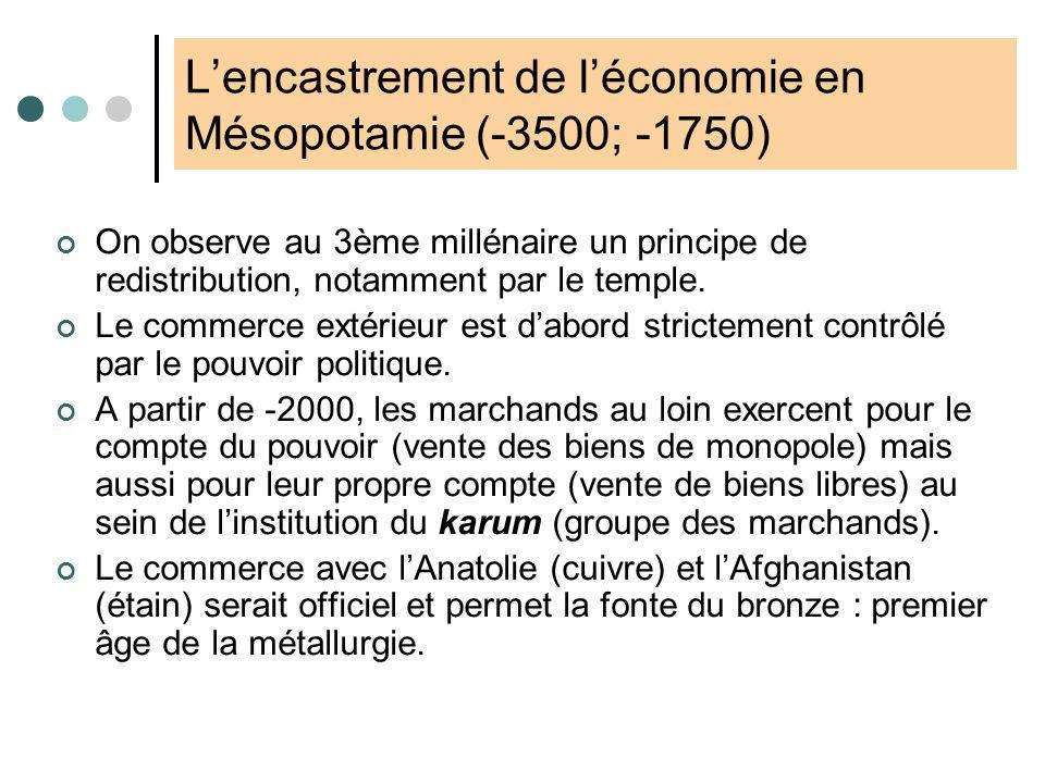 Lencastrement de léconomie en Égypte (-4000; -1100) La construction et la maintenance des bassins de décrue et réseaux dirrigation supposeraient un po