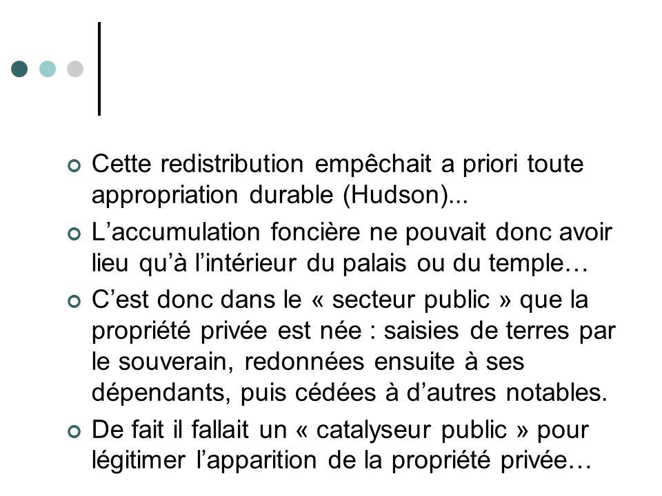 Comment est née la propriété privée ? Il existait depuis longtemps une « propriété publique » de terres importantes appartenant au palais et au temple